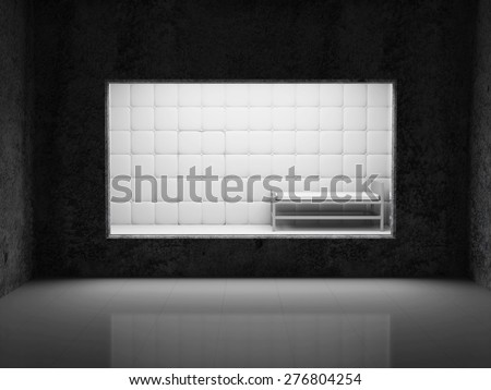 Monitoring Room Interior with Big Window with a view to Mental Hospital Padded Room Interior. 3D Rendering - stock photo