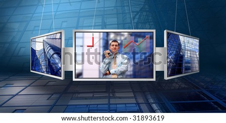 monitors with business architecture background - stock photo