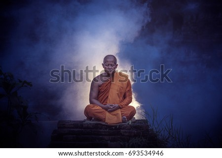 Monk Doing Meditation To Follow The Doctrine Of Buddha Buddhism