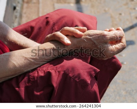 Monk holy hands - stock photo