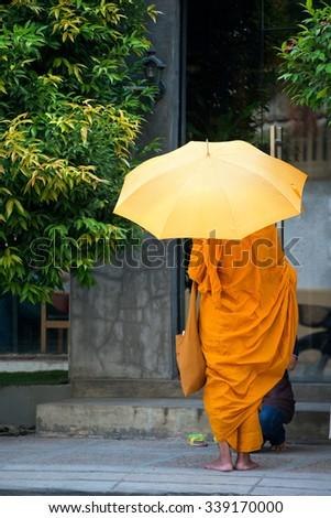 Monk in Phnom Penh, Cambodia - stock photo