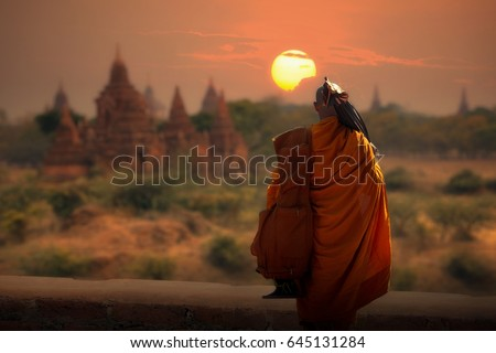 Monk of thailand is walking hike at Bagan Mandalay Myanmar