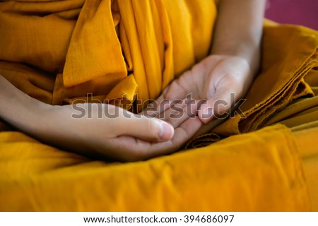 Monk's hand in Buddhism Meditation