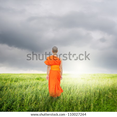 Monk Walk in grass fields and rainclouds - stock photo