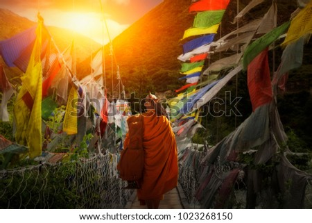 Monk Walking hike in Bhutan.