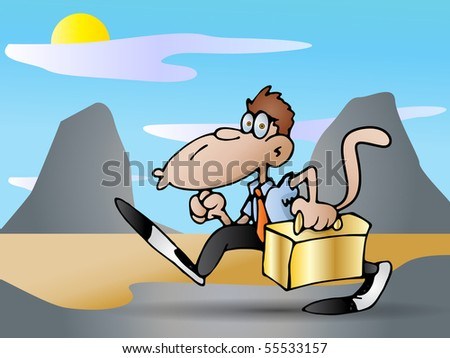 monkey Businessman carrying a golden suitcase against nature background