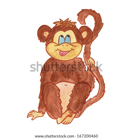 Monkey. Cute marmoset cartoon, watercolor painting isolated on white background. Watercolor painting handmade. - stock photo