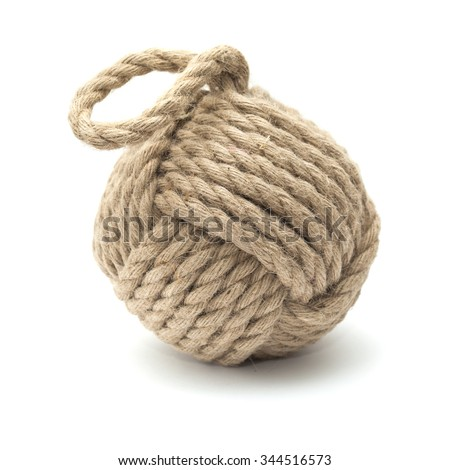 Monkey fist ornamental knot isolated on white background