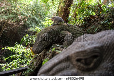 Monkey in sacred monkey forest of Ubud, Bali, Indonesia
