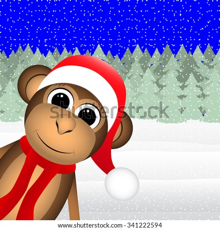 monkey in winter forest Christmas