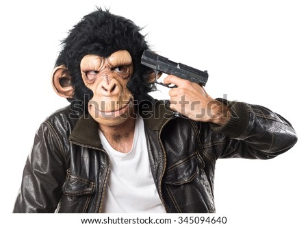 Monkey man cometing suicide - stock photo