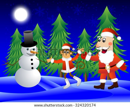 Monkey , Santa Claus and snowman on the edge of the forest,  illustration