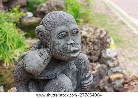 Monkey statues in the garden.