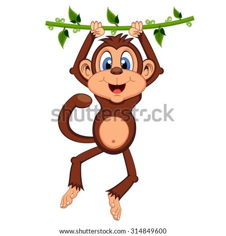 Monkey swinging on vines cartoon - stock photo