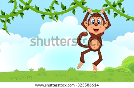 Monkey swinging on vines cartoon in a garden for your design - stock photo