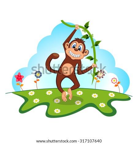 Monkey swinging on vines in a garden - stock photo