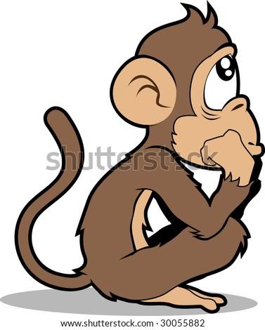 Monkey thinking. Isolated on white - stock photo