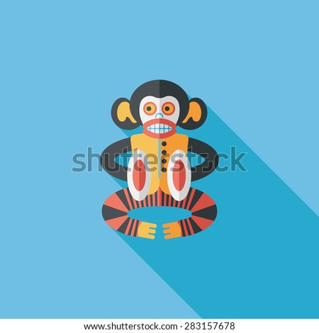 monkey toy flat icon with long shadow - stock photo