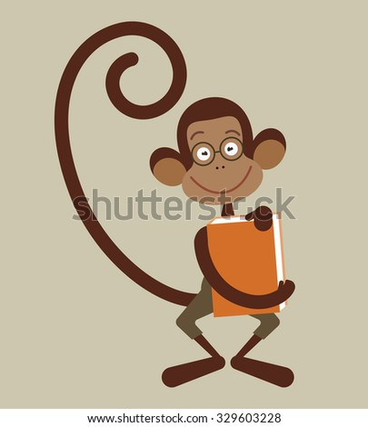 Monkey with pencil - back to school illustration