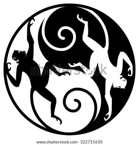 Monkey Yin Yang. Yin-Yang symbol with monkeys. Decorative sign - stock photo