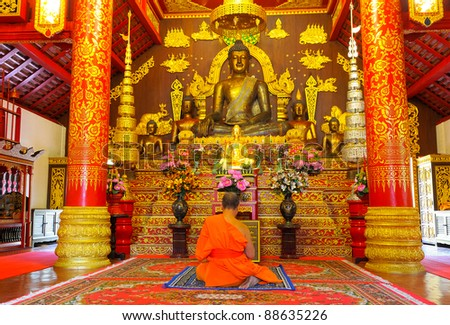 Monks and Buddha.Temples of northern Thailand.