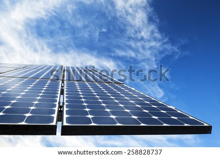 Mono-crystalline photovoltaic solar cell panels producing electricity