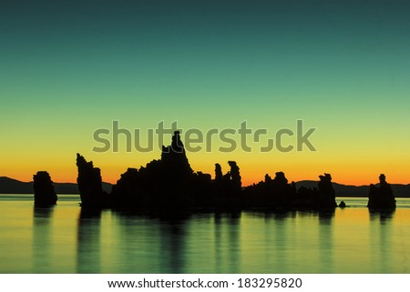 Mono Lake is one of California'??s most prominent photographic icons. The Tufas are dramatic rock spires protruding from the seabed. - stock photo