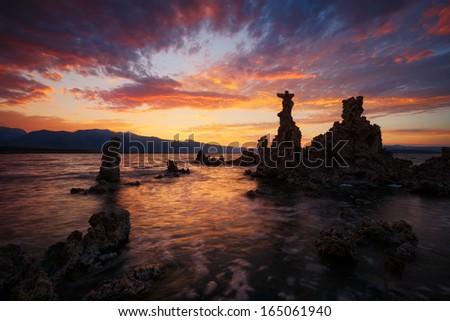 Mono lake sunset - stock photo