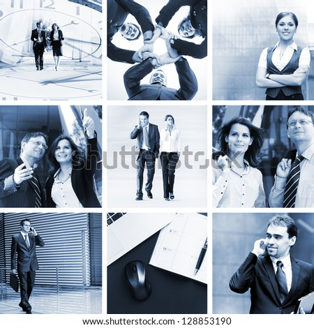 Monochromatic collage in blue gamma: businesspeople, time, money and success - stock photo