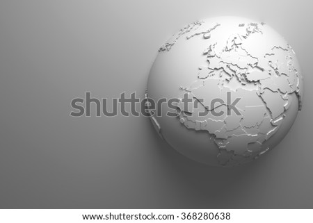 monochrome abstract background with earth globe, continets are with countries randomly extruded