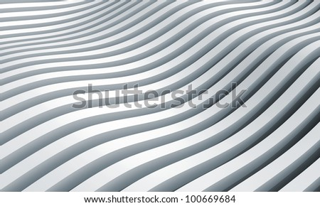 Monochrome abstract 3d wave stripes background - stock photo