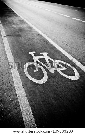 Monochrome bicycle road sign - stock photo