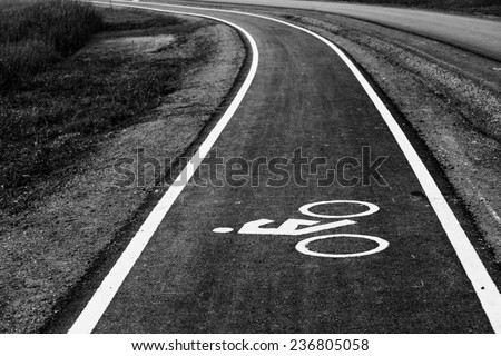 Monochrome bicycle road sign. - stock photo