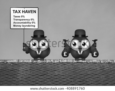 Monochrome bird businessman holding bags of money deposited in a tax haven paying no tax and shrouded in secrecy UK version - stock photo