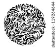 Monochrome black and white lace ornament raster version - stock photo