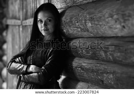 monochrome black and white portrait of a girl