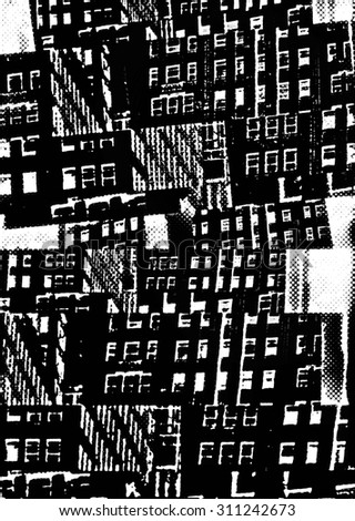 Monochrome collage of fragments of buildings