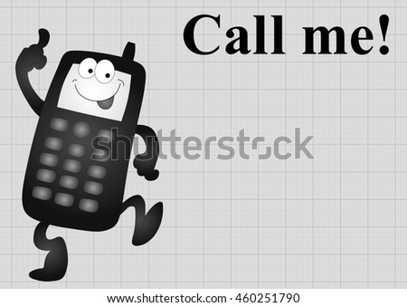 Monochrome comical mobile telephone and call me on graph paper background with copy space for own text - stock photo