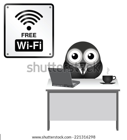 Monochrome comical representation of free WiFi at an internet cafe isolated on white background - stock photo