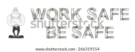 Monochrome construction manufacturing and engineering health and safety related banner isolated on white background - stock photo