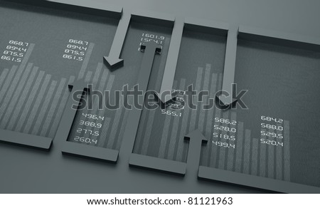 Monochrome financial charts and graphs - stock photo