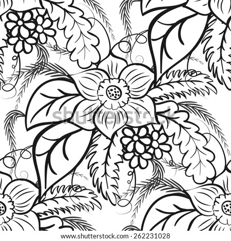 Monochrome floral seamless pattern. Large flowers and leaves on a white background. Rasterized version. - stock photo
