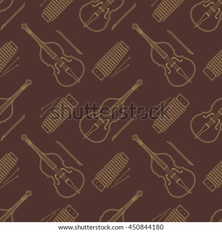 monochrome gold contrabass and xylophone decoration seamless pattern isolated brown  background