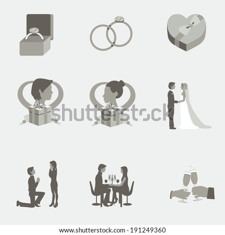 Monochrome grayscale wedding flat elements for wedding events - stock photo