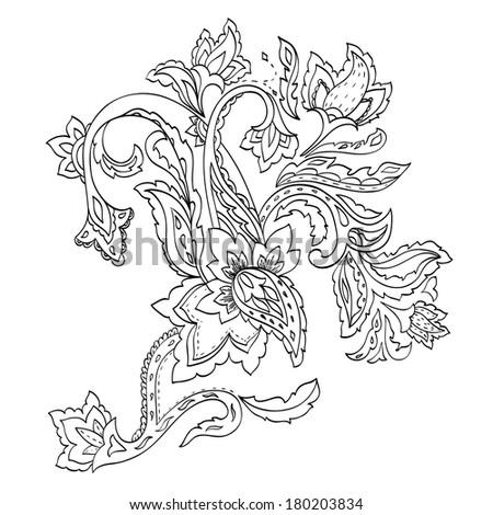 Monochrome hand-drawn paisley pattern. Raster version - stock photo