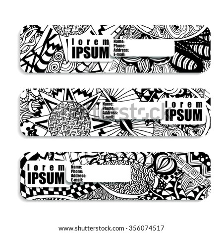 monochrome horizontal banner painted in patterns floral, zentangle and Doodle