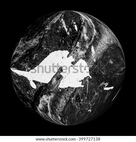 monochrome Illustration of a planet in deep space