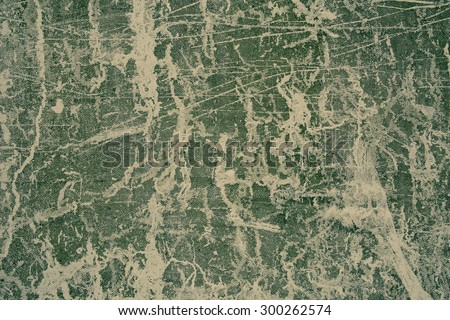 Monochrome image of abstract lines on cement wall. Green tone. - stock photo