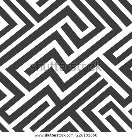 monochrome maze seamless pattern (raster version) - stock photo