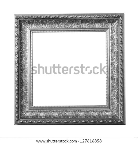 Monochrome modern photo frame isolated on white background vintage frame retro frame collection painting edge  exhibit art antique  large masters gallery oak museum present goldleaf fotoisolated  - stock photo